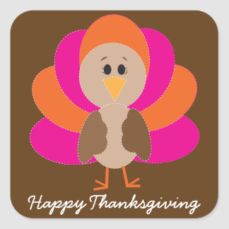 Cute Happy Thanksgiving Turkey Fall Autumn Sticker