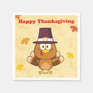 Cute Happy Thanksgiving Turkey Paper Napkin