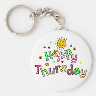 Cute Happy Thursday Week Greeting Text Expression Basic Round Button Key Ring