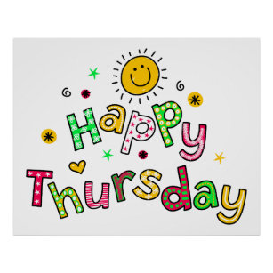 Cute Happy Thursday Week Greeting Text Expression Gifts & Gift ...