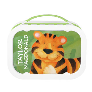 Cute happy tiger art kids named lunchbox