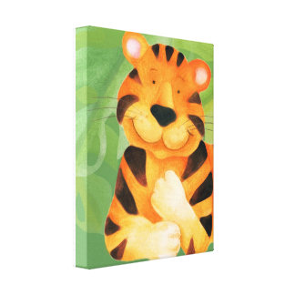 Cute happy tiger canvas wrap print stretched canvas prints
