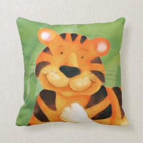 Cute happy tiger face square kids throw pillow