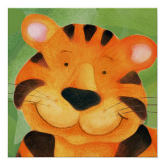 Cute happy tiger face square poster print