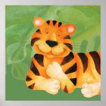 Cute happy tiger square poster print