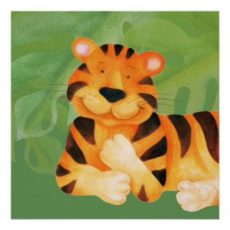 Cute happy tiger square poster print
