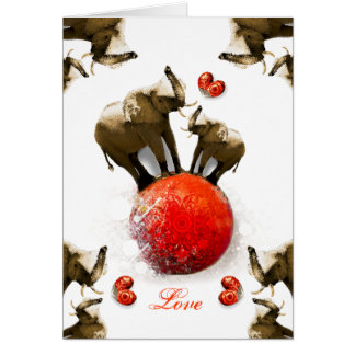 Cute Happy Valentine's Day with Hearts & Elephants Greeting Card