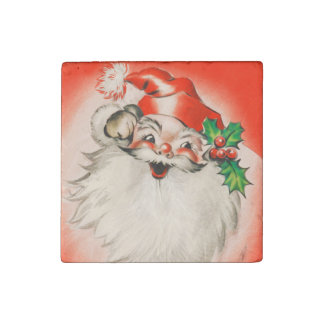Cute Happy Vintage Santa Claus Stone Magnet