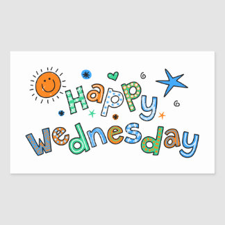 Cute Happy Wednesday Week Greeting Text Expression Rectangular Sticker