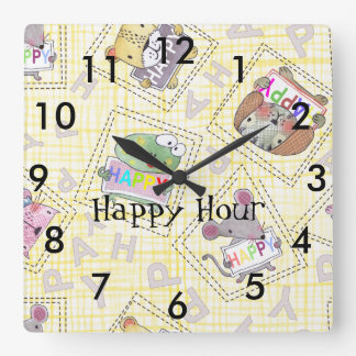 cute happy woodland animals -HAPPY HOUR Square Wall Clock
