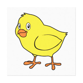 Cute Happy Yellow Chick Stretched Canvas Print