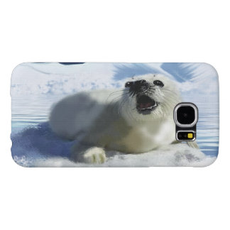 Cute Harp Seal & Ice Art for Wildlife Supporters Samsung Galaxy S6 Cases