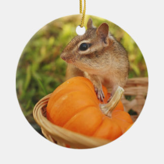 Cute Harvest Chipmunk Christmas Ornament