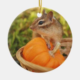 Cute Harvest Chipmunk Round Ceramic Decoration