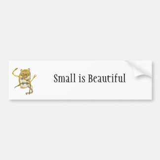 "Cute Harvest Mouse: ""Small is Beautiful"" Car Bumper Sticker"