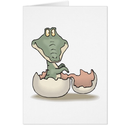 cute hatching baby alligator card