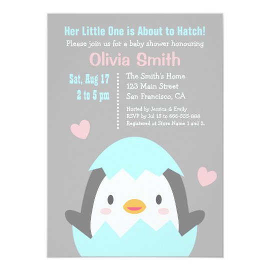 Cute Hatching Penguin Baby Shower Invitations