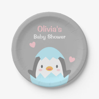 Cute Hatching Penguin Baby Shower Party Supplies Paper Plate