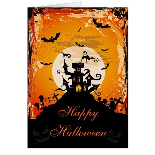 Cute Haunted House & Bats Halloween Card