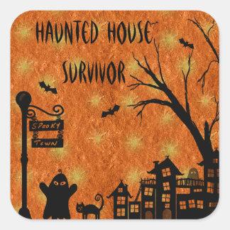 Cute Haunted House Survivor Orange Stickers