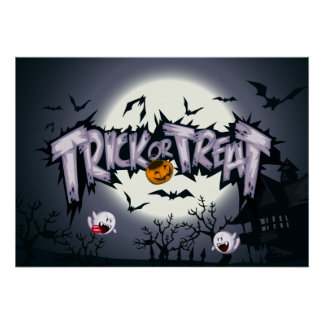 "Cute haunted moon ""Trick or Treat"" ghostly pumpkin Poster"