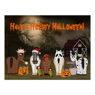 Cute Have a Horsey Halloween Poster
