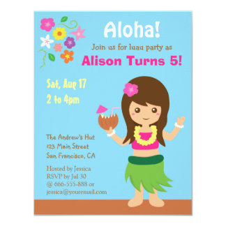 Cute Hawaii Hula Girl Luau Birthday Party 11 Cm X 14 Cm Invitation Card