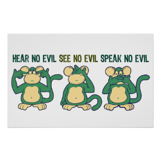 Cute Hear No Evil Monkeys Poster
