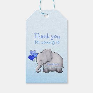 Cute Heart Balloons Elephant Blue Baby Boy Shower Gift Tags