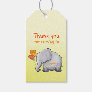 Cute Heart Balloons Elephant Neutral Baby Shower Gift Tags