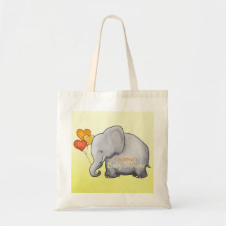 Cute Heart Balloons Elephant Neutral Baby Shower Tote Bag