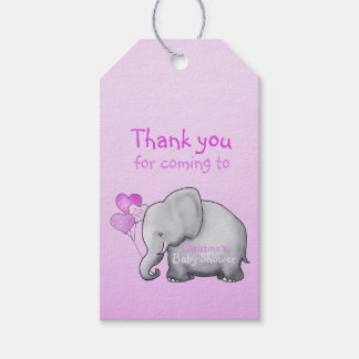 Cute Heart Balloons Elephant Pink Baby Girl Shower Gift Tags