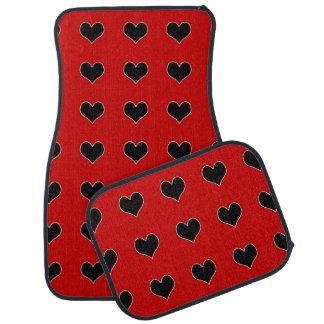 Cute heart black white car mat