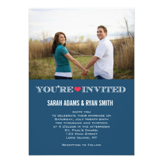 Cute Heart Blue Red Wedding Photo Invitations
