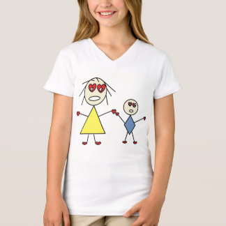 Cute Heart Eyes Stick Figure Mom and Child T-Shirt