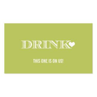 Cute Heart Green Wedding Drink Ticket Business Card Templates