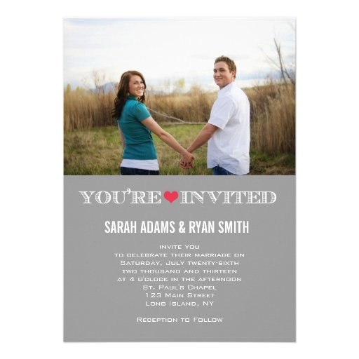 Cute Heart Grey Red Wedding Photo Invitations