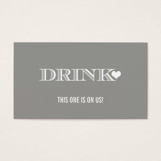 Cute Heart Grey Wedding Drink Ticket