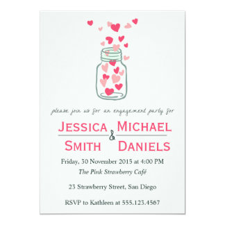 Cute Heart Jar - Engagement Invitations