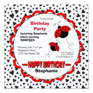 Cute Heart Ladybugs Birthday Party Invitation