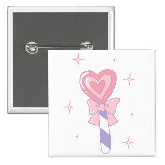 Cute Heart Lollipop Pinback Button