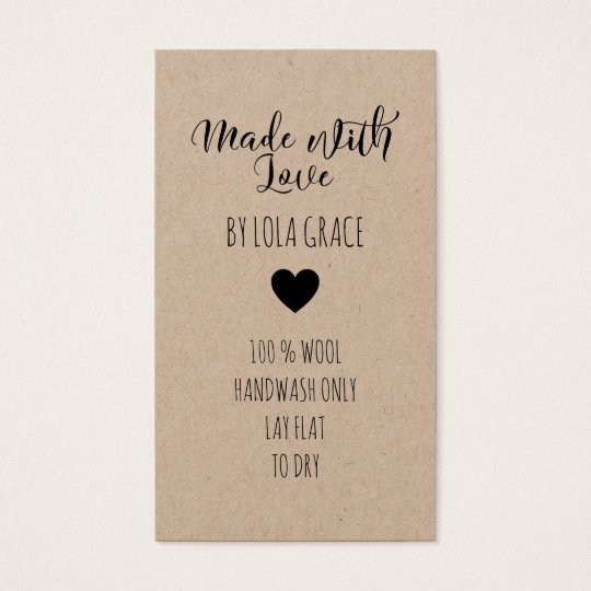 Cute Heart Made with Love Kraft Paper Business