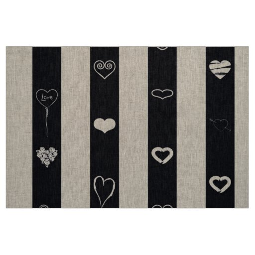 Cute Heart Modern Black White Stripe Fabric