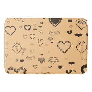 Cute Heart Modern Dark Gray Pattern Bath Mat