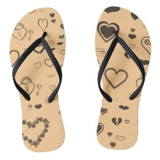 Cute Heart Modern Dark Gray Pattern Flip Flops