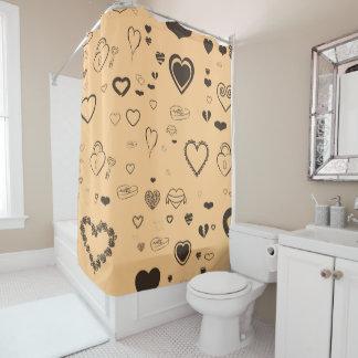 Cute Heart Modern Dark Gray Shower Curtain