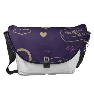 Cute Heart Modern Dark Purple Pattern Courier Bags