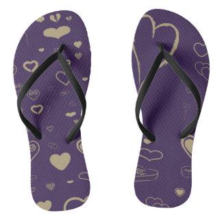Cute Heart Modern Dark Purple Pattern Flip Flops