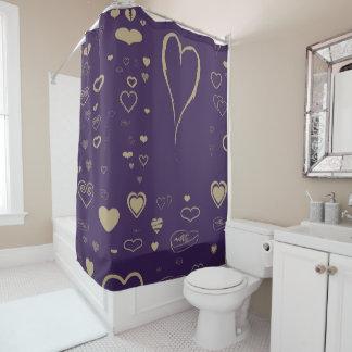 Cute Heart Modern Dark Purple Shower Curtain