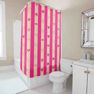 Cute Heart Modern Hot Pink Stripe Shower Curtain